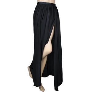 Gypsie Junkies Black Slit Flowy Maxi Skirt